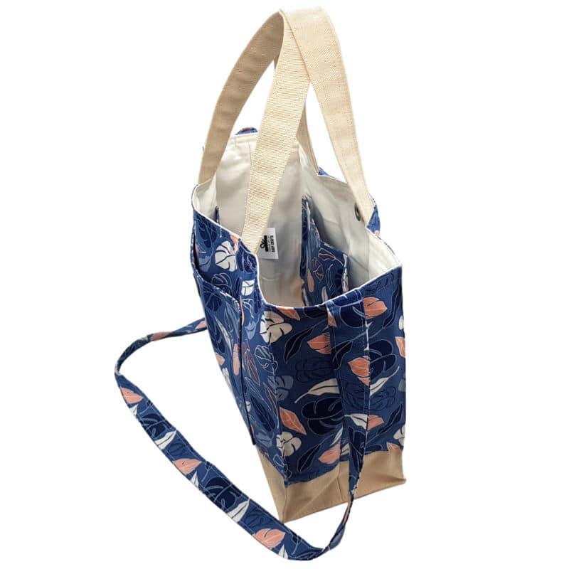 100% Cotton & Canvas Blue Leafy Handbag
