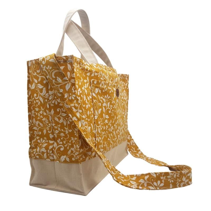 100% Cotton Yellow/Mustard & White Flowery Handbag