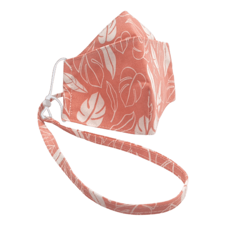 100% Cotton Triple Layer Pink/Salmon Leaf/Foliage Design Face Mask