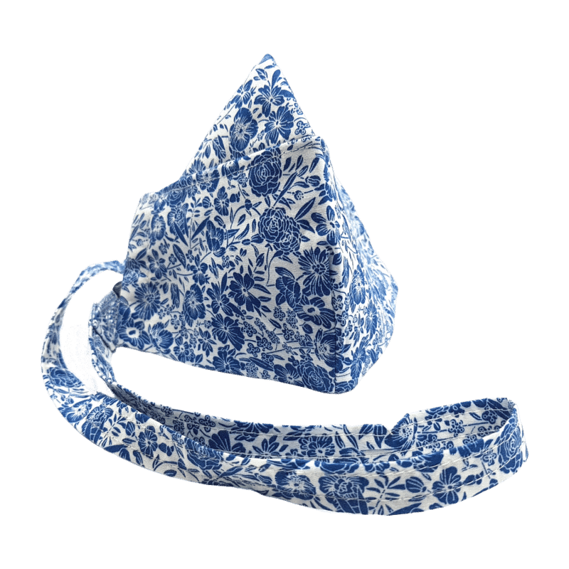 100% Cotton Dual Layer Blue & White Flowery Face Mask