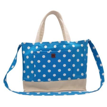 100% Cotton & Canvas Blue & White Polka Dot Design Handbag