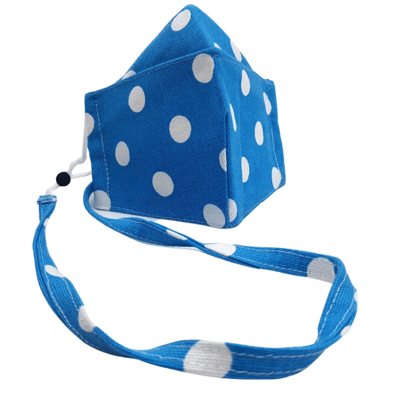 100% Cotton Triple Layer Blue & White Polka Dot Design Face Mask (Non-medical)